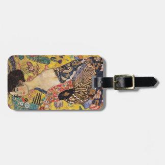 Madame de Klimt avec des beaux-arts de fan Étiquette À Bagage