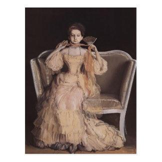Madame de Konstantin Somov- dans le rose Carte Postale