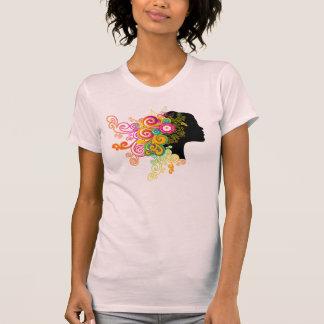 Madame de KRW des fleurs refroidissent la rétro T-shirt