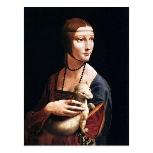 Madame de Leonardo da Vinci avec une carte postale