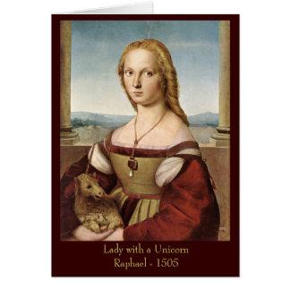 Madame de Raphael avec une carte de voeux de