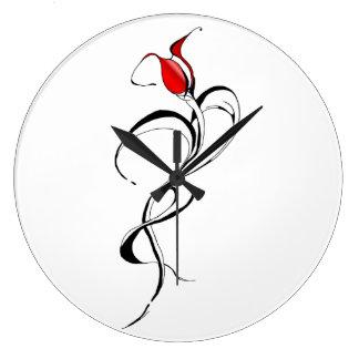 Madame de rose rouge Tribal Tattoo pour le jour de Grande Horloge Ronde