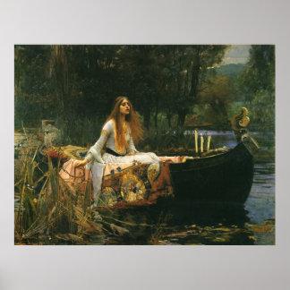 Madame de Shalott sur le bateau par le château Poster