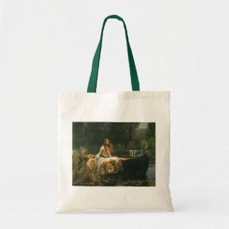 Madame de Shalott sur le bateau par le château Sacs En Toile