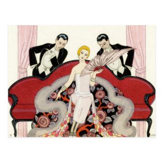 Madame élégante en carte postale d'art déco de