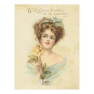 Madame élégante rose jaune de Saint-Valentin Cartes Postales