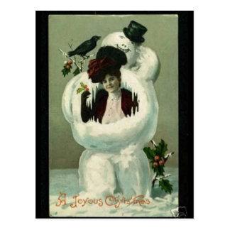 Madame et bonhomme de neige carte postale