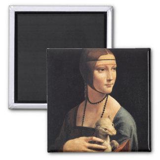 Madame et hermine magnet carré