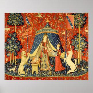 Madame et l'art médiéval de tapisserie de licorne posters
