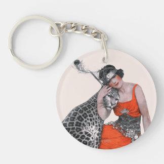 Madame et léopard porte-clé rond en acrylique double face