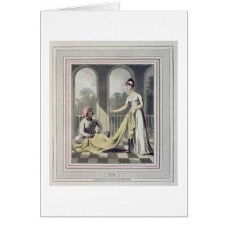 Madame européenne donnant des instructions à son carte de vœux