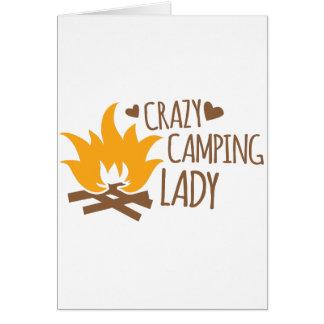 Madame folle de camping carte de vœux