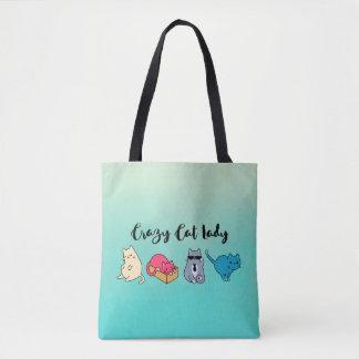 Madame folle de chat et 4 chats mignons sac