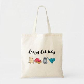 Madame folle de chat et 4 chats mignons sacs en toile
