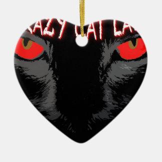Madame folle de chat ornement cœur en céramique