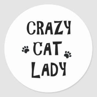 Madame folle de chat sticker rond