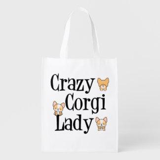 Madame folle de corgi sac réutilisable