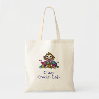Madame folle de crochet sacs de toile