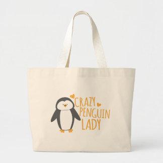 Madame folle de pingouin sac en toile jumbo
