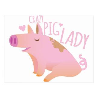 Madame folle de porc carte postale
