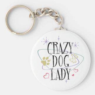 Madame folle Keychain de chien de rétro style Porte-clé Rond