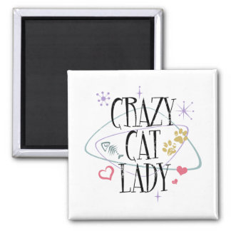 Madame folle Magnet de chat de rétro style Magnet Carré