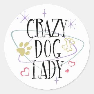 Madame folle Round Sticker de chien de rétro style Sticker Rond