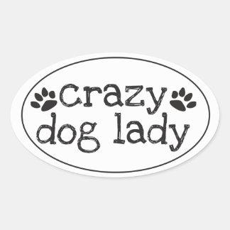 Madame folle Sticker de chien Sticker Ovale