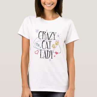 Madame folle T-Shirt de chat de rétro style