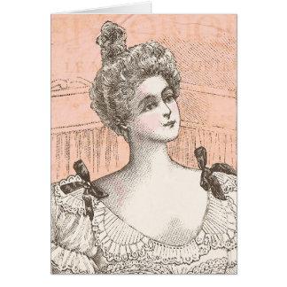 Madame française assez victorienne de mode carte de vœux