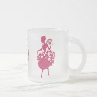 Madame froncée vintage mug en verre givré