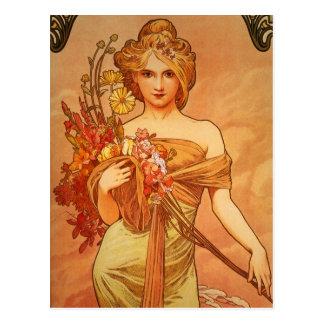 Madame gracieuse avec la carte postale de cru de