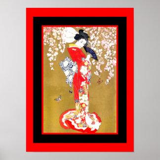 Madame japonaise poster vintage 2 de geisha d'art