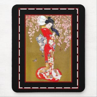 Madame japonaise poster vintage de geisha d'art de tapis de souris