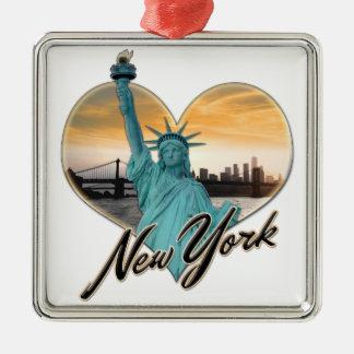 Madame Liberty de souvenir d'horizon de NYC New Ornement Carré Argenté