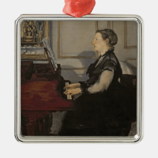 Madame Manet au piano, 1868 de Manet | Ornement Carré Argenté