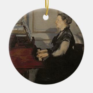 Madame Manet au piano, 1868 de Manet | Ornement Rond En Céramique