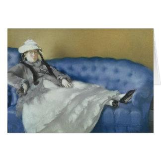 Madame Manet sur un sofa bleu, 1874 de Manet | Carte De Vœux