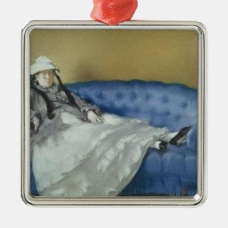 Madame Manet sur un sofa bleu, 1874 de Manet | Ornement Carré Argenté