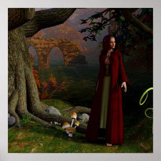 Madame médiévale Fantasy Art Forest Poster