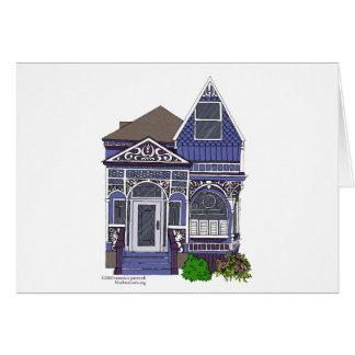 Madame peinte victorienne - bleu cartes de vœux