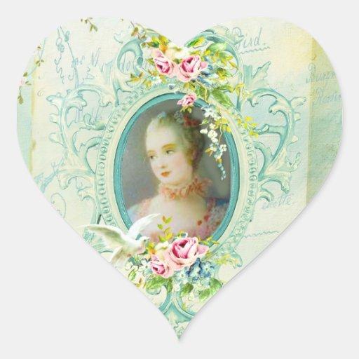 Madame Pompadour Heart Stickers ou phoques Autocollants En Cœur