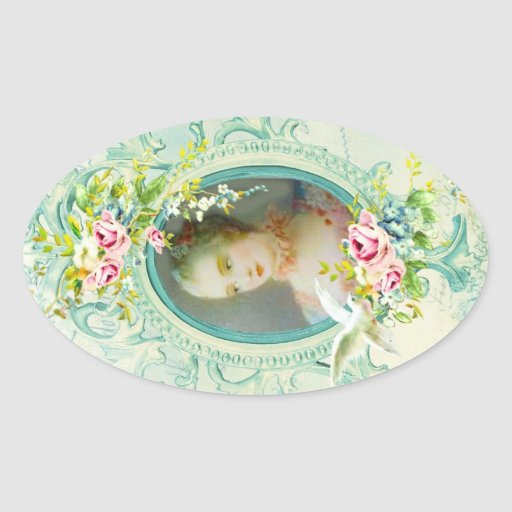 Madame Pompadour Oval Stickers ou phoques Stickers Ovales
