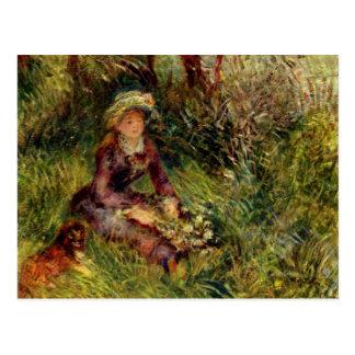 Madame Renoir avec le chien par Pierre Renoir Carte Postale