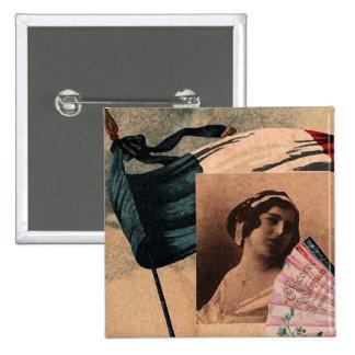 Madame romantique de drapeau de fan chic française badge carré 5 cm