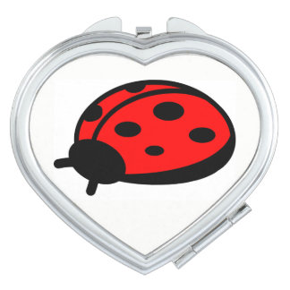 Madame rouge Bug Heart Compact Mirror Miroirs De Voyage