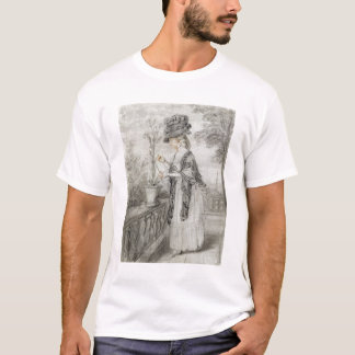 Madame sur une terrasse tendant une usine t-shirt