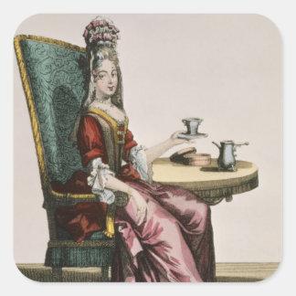 Madame Taking Coffee, plat de mode, c.1695 Sticker Carré