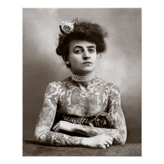 Madame tatouée, 1907. Photo vintage Posters