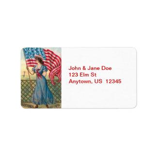 Madame victorienne avec des étiquettes de adresse étiquettes d'adresse